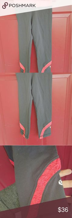 Lululemon grey and coral ruched crop leggings Size 4 and super cute just way too small for me. lululemon athletica Pants Ankle & Cropped