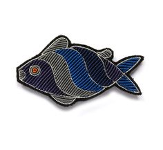 Broche Brodée grande thon bleu (large embroidered blue tuna brooch) by Macon et Lesquoy