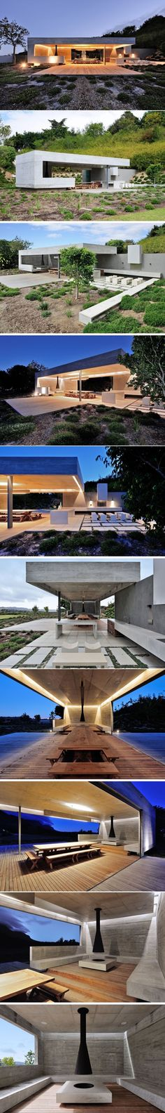This Concrete Garden Pavilion Was Designed With Multiple Areas For Entertaining | CONTEMPORIST