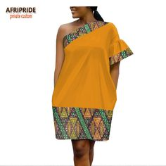 African ankara dresses for women AFRIPRIDE one shoulder flare sleeve above-knee length casual women dress African Fashion Ankara, Latest African Fashion Dresses, African Inspired Fashion, African Dresses For Women, African Print Dresses, African Print Fashion, Africa Fashion, African Attire, African Wear