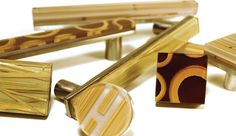 Spectra Decor cabinet pulls featuring 3-form ecoresin pieces on lead-free pewter