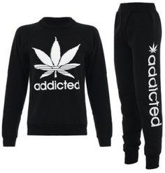 "$19.90 - Ladies ""Addicted"" weed tracksuit set - Stoner ladies where you at?"