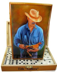 New!! . Exclusive Oil Painting on Top Professional Domino double Six.