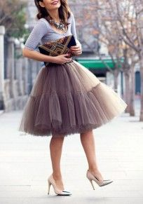 Coffee Plain Grenadine Fluffy Puffy Tulle Layers Of Knee Length High Waisted…
