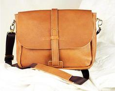 Brown Leather Crossbody Messenger Bags, ipad Laptop bag,Durable Commuter Satchel College Office bag