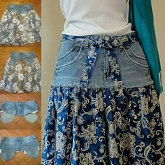 Easy fitness 313070611593406076 - Jean Skirt -Upcycled Denim and Printed Cotton Source by sinvogt Trash To Couture, Shirt Makeover, Thrift Store Diy Clothes, Sewing Jeans, Diy Clothes Videos, Denim Crafts, Refashioning, Jeans Rock, Diy Dress