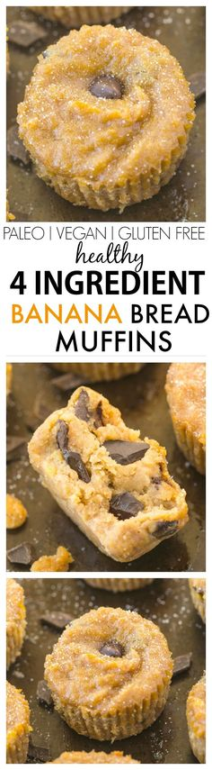 Healthy 4 Ingredient Banana Bread Muffins- Moist, gooey yet incredibly tender, these 4 ingredient muffins have no butter, oil, white flour or sugar- The perfect recipe to use up bananas! {vegan, gluten free, paleo}