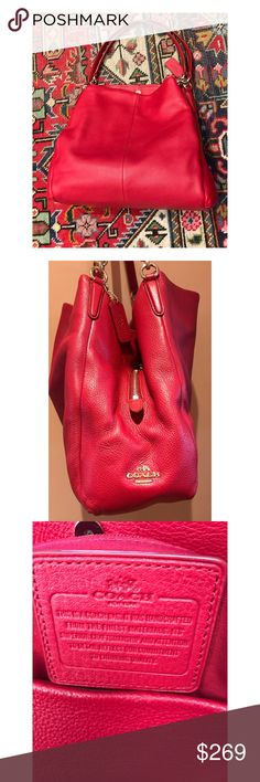 """Coach red leather tote, like NEW! Nothing says """"holiday"""" like a little pop of red. This pebbled leather bag from Coach looks absolutely brand new & would make a beautiful gift for someone (or yourself). This bag has 3 main compartments so it holds A LOT! One area zippers closed & the other 2 snap together to close, plus 3 interior pockets. Gold hardware & Coach logo give this bag classic elegance. Measures 13"""" wide x 12"""" tall x 5"""" wide.  Two straps with 11"""" drop. Fabulous! I am a top-rated…"""