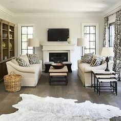 Brown White Zebra Cowhide Hide Ottoman By 1801FurnitureCo On