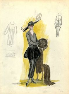 """""""Day Dress, Doucet, 1917. Gray ankle length dress, straight skirt, black peplum; gray v-neck bodice, long sleeves; brown fur stole, matching fur muff with fur tassels; black hat, wide brim, brown feathers. (Bendel Collection, HB 022-09)"""", 1917. Fashion sketch. Brooklyn Museum, Fashion sketches. (Photo: Brooklyn Museum, SC01.1_Bendel_Collection_HB_022-09_1917_Doucet_SL5.jpg)"""