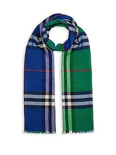 Burberry Colorblock Check Wool & Silk Scarf