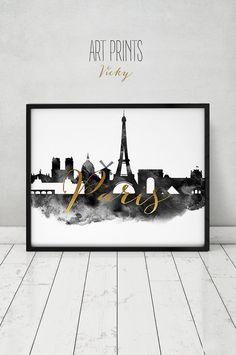 Paris print black & white poster watercolor faux by ArtPrintsVicky