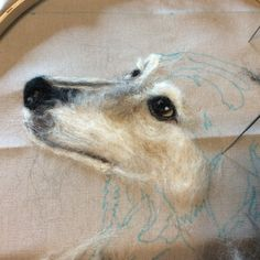Needle felted portrait of Dixie