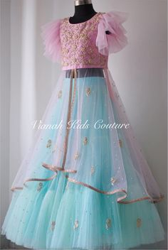 Baby pink and light blue layered lehenga for your little girls . Blush pink color top with floral design hand embroidery gold thread and kundan work. top with bell sleeves. To order pls watsapp or call on 07 February 2019 lehenga Kids Dress Wear, Kids Gown, Party Wear Dresses, Baby Dress Design, Frock Design, Frocks For Girls, Dresses Kids Girl, Baby Girl Lehenga, Kids Lehenga Choli