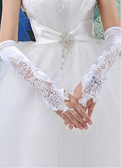 Gorgeous Satin Elbow Ivory Wedding Glove- if I don't do long sleeves this may be cool