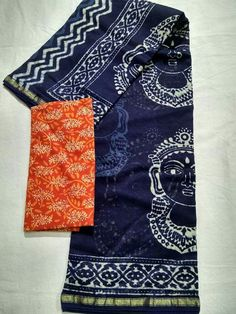 Chanderi Silk Sarees With Running Blouse Extra Combo Blouse Kalamkari or bagru blouse Order what's app 7995736811