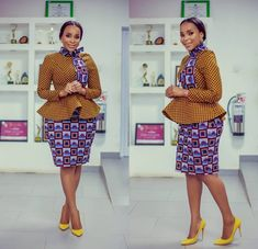 ankara stil This beautiful outfit is handmade with love to fit buyer's exact measurements. * It includes a flared top with long sleeve * knee length skirt * fully lined It takes busin Latest African Fashion Dresses, African Dresses For Women, African Print Dresses, African Print Fashion, African Attire, African Wear, African Prints, Ankara Fashion, African Women