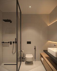 Tiny Apartment - small apartment interior design by Bezmirno Small Apartment Design, Modern Bathroom Design, Bathroom Interior Design, Apartment Interior, Kitchen Interior, Bathroom Designs, Small Bathroom Ideas, Apartment Bathroom Design, Minimalist Bathroom Design