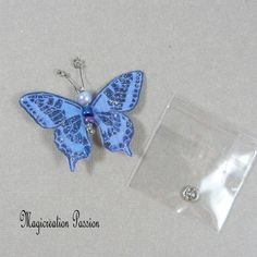 Papillon soie bouton pression violet 5 cm Mauve, Creations, Drop Earrings, Support, Dimensions, Passion, Jewelry, Playing Card, Papillons