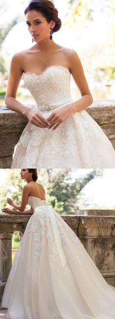 Organza Wedding dresses, Long Wedding Dresses, Sweetheart Wedding Dresses, Wedding Dresses 2017, Ivory Wedding Dresses, Ivory Sweetheart Wedding Dresses, 2017 Wedding Dresses Sweetheart Ivory Appliques Organza