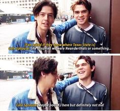 #Riverdale #ColeSprouse #KJApa lol I remember this, she was talking about Texas State University but Cole thought she meant the state of Texas