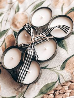 Hand Poured all natural soy candles in a vintage muffin tin. Vintage Inspired Decor. Handmade Candles.  Vintage Finds