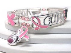 Wholesale Breast Cancer Awareness Jewelry | ... jewelry pink ribbon message stretch bracelet breast cancer awareness