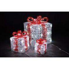 10 in. 6 in. 4 in. Decorative Gift Box LED Light (Set of 3)