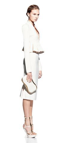 Alexander McQueen ivory kick-back pencil skirt and ivory wave ruffle jacket