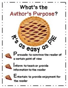 the Author's Purpose is Easy as P-I-E FREE Author's Purpose Poster/Handout~ Determining the Authors Purpose is Easy as P-I-E!FREE Author's Purpose Poster/Handout~ Determining the Authors Purpose is Easy as P-I-E! Comprehension Strategies, Reading Strategies, Reading Comprehension, Student Teaching, Teaching Reading, Guided Reading, Teaching Ideas, Learning, Too Cool For School