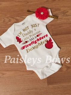 Firefighters daughter by PaisleyBows on Etsy Firefighter Baby Showers, Firefighter Gifts, Firefighters Girlfriend, Firefighter Family, Firemen, Newborn Boy Clothes, Baby Planning, Baby On The Way, Baby Fever