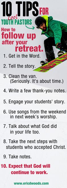 10 Tips for Youth Pastors: How to follow up after a retreat.
