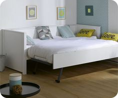 Ausziehbett Nova weiß 80x200cm Toddler Bed, Nova, Furniture, Home Decor, Gauche, Kids Rooms, Pull Out Bed, Bed Ideas, Mattress