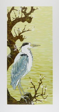 Heron and Wild Plum, by Laura Boswell