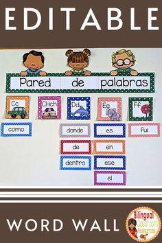 Classroom Word Wall, Classroom Language, Classroom Decor, Word Work Activities, Classroom Activities, Learning Activities, Bilingual Classroom, Bilingual Education, Behavior Management Strategies