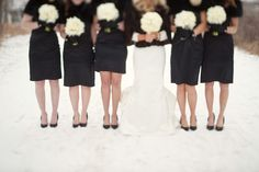 winter wedding bridesmaids - in black - yes, so classy.