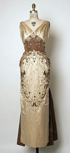 Pierre Balmain evening dress in silk, glass and shells; c. 1955.