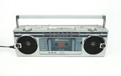 E. S. C. TBS2700 AM/FM Radio Tape Cassette Player Stereo with Speakers Vintage Boombox Electronic Sports Collection