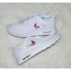 Nike Air Max Thea White With Hombre white/pink Swarovski Xirius... ($150) ❤ liked on Polyvore featuring shoes, silver, sneakers & athletic shoes, women's shoes, white shoes, shiny shoes, pink white shoes, pink shoes and polish shoes