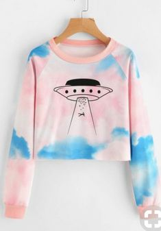 Shop Graphic Print Water Color Sweatshirt at ROMWE, discover more fashion styles online. Teen Fashion Outfits, Cute Fashion, Trendy Outfits, Girl Outfits, Tumblr Outfits, Mode Outfits, Mode Kawaii, Vetement Fashion, Cute Crop Tops