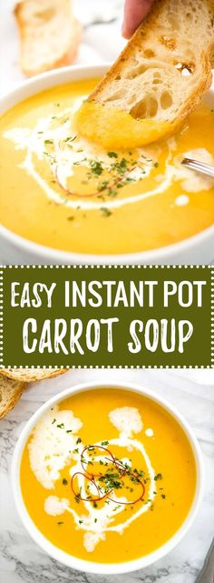 Instant Pot Carrot Soup - a creamy pressure cooker soup that is so easy to make! This sweet and spicy carrot soup is perfect for cold days.