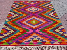 VINTAGE Turkish Kelim Rug Carpet Handwoven Kilim by sofART on Etsy
