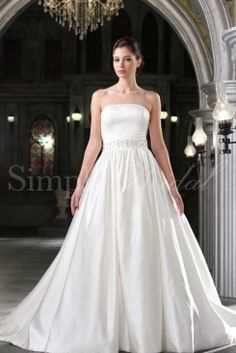 Wedding Dress by SimplyBridal. The Helena gown is a classic and majestic ball gown. Made of luxurious satin with a perfectly beaded waistline and a straight neckline, this is the ball gown every little girl dreams about. Perfect for a church wedding but would also look stunning in an e. USD $215.99