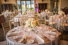 Gold Chiavari Chairs, crushed velvet seat cushions, and blush linens created a neutral, romantic environment that allowed our peach roses to pop. Las Vegas Wedding atSiena Golf Club| Photography byElla Gagiano| Floral and Decor byNaakiti Floral| Las Wedding PlannerAndrea Eppolito