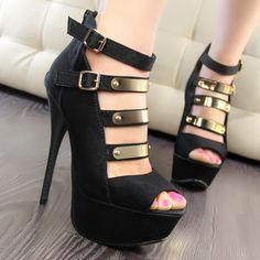 Sexy ultra high heels thin heels platform metal open toe single shoe