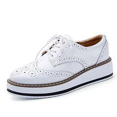 Moonwalker Zapatos con Cordones de Cuero Mujer Oxford Cuña ( EUR 35,Rojo)