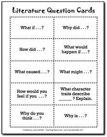 Free Literature Circles Question Cards - Students can use these question stems to generate discussion questions (from Laura Candler) Reading Resources, Reading Strategies, Teaching Reading, Reading Comprehension, Guided Reading, Comprehension Strategies, Close Reading, Reading Activities, Literacy Circles