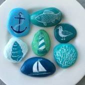 Your place to buy and sell all things handmade Seashell Painting, Pebble Painting, Pebble Art, Stone Painting, Dyi Crafts, Beach Crafts, Rock Crafts, Arts And Crafts, Rock Painting Patterns