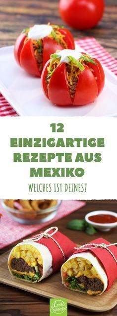 Viele Bohnen, viel Mais und feurige Gewürze erwartet man von mexikanischen Gerichten. Das sind 12 passende Gerichte! #leckerschmecker #kochen #backen #rezept #essen #mittagessen #abendessen #mexiko #mittelamerika #wrap #tortilla #taco #burrito #mais #bohnen #chili #scharf #heiß #feurig #cayenne #süßkartoffel #avocado
