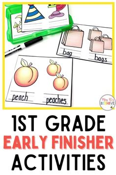 Give your students early finisher activities that are engaging and educational. These task cards are meant to be done independently to help free up your teacher time for those students who need assistance! Help students increase plural noun skills with these first grade task cards. First Grade, Grade 1, Early Finishers Activities, Kindergarten Classroom, Your Teacher, Word Problems, Beehive, Guided Reading, Task Cards